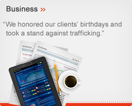 Business - We honored our clients' birthdays and took a stand against trafficking.