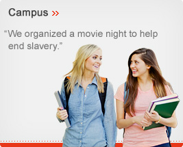 Campus - We organized a movie night to help end slavery.